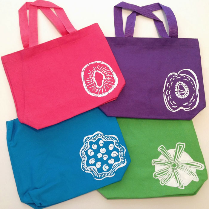 Feb 2014 StencilClub - Stenciled Lunch Bags - Mary C. Nasser