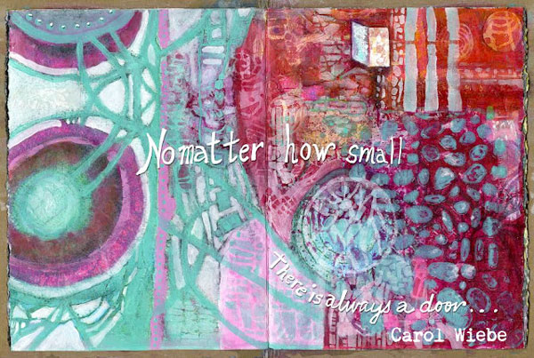 Feb2016 StencilClub - Art Journal Inside Covers - Carol Wiebe
