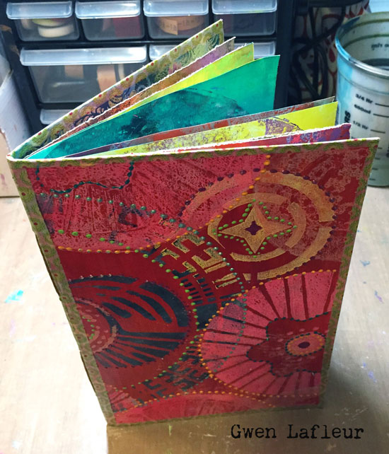 Gelli Printed Mini Art Journal by Gwen Lafleur