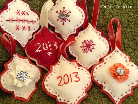 Stenciled Felt Christmas Ornaments by Janet Joehlin