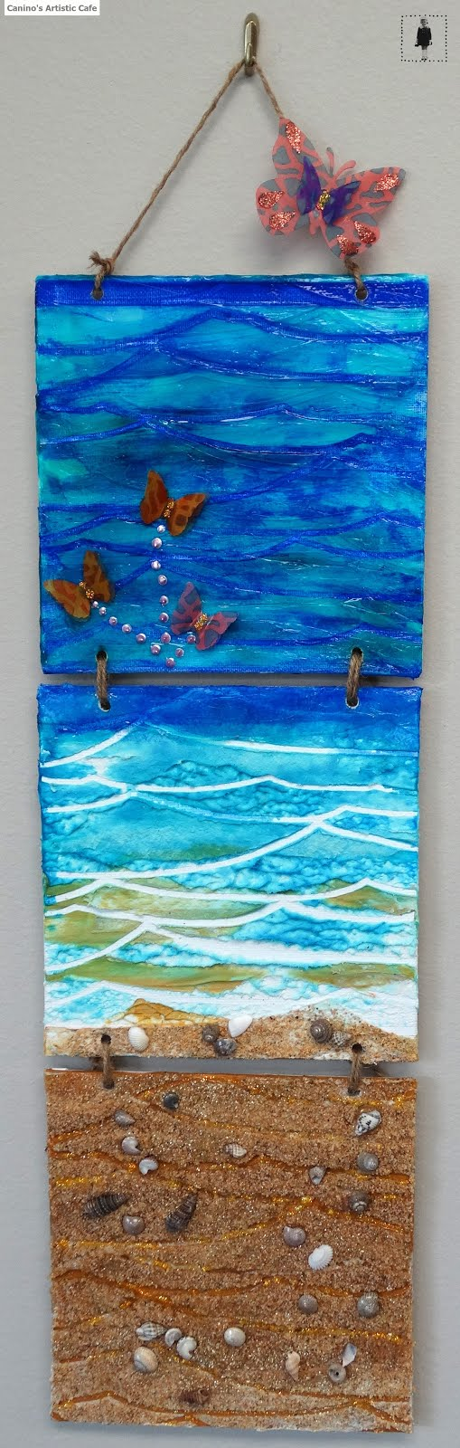 Jun2016 StencilClub - Stenciled Mixed Media Wall Hanging - Sherry Canino