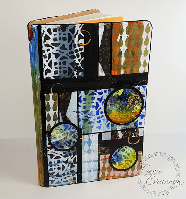 Jun2016 StencilClub - Stenciled Art Journal Cover 1 - Trena Brannon