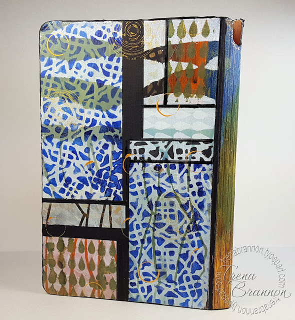 Jun2016 StencilClub - Stenciled Art Journal Cover 2 - Trena Brannon