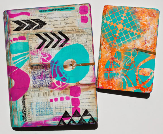 May 2015 StencilClub - Art Journal Covers - Mary C. Nasser