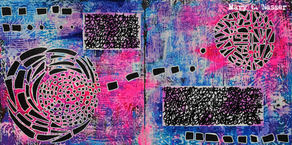 Mar2016 StencilClub - Art Journaling - Mary Nasser