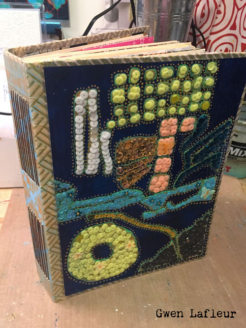 Sequined Art Journal Cover with Stencils - Tutorial by Gwen Lafleur