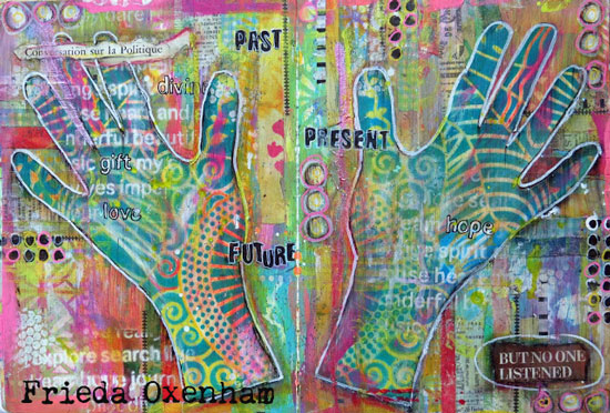 Stamping with a Gelli Plate in an Art Journal - Frieda Oxenham