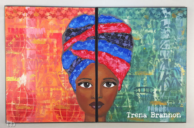 Painted Stenciled Diptych Portrait - Trena Brannon