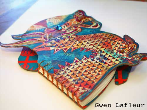Stenciled and Shaped Handmade Dragon Book by Gwen Lafleur