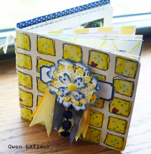 Stenciled and Stamped Mini Scrapbook by Gwen Lafleur