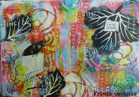 Stenciled Art Journaling by Frieda Oxenham