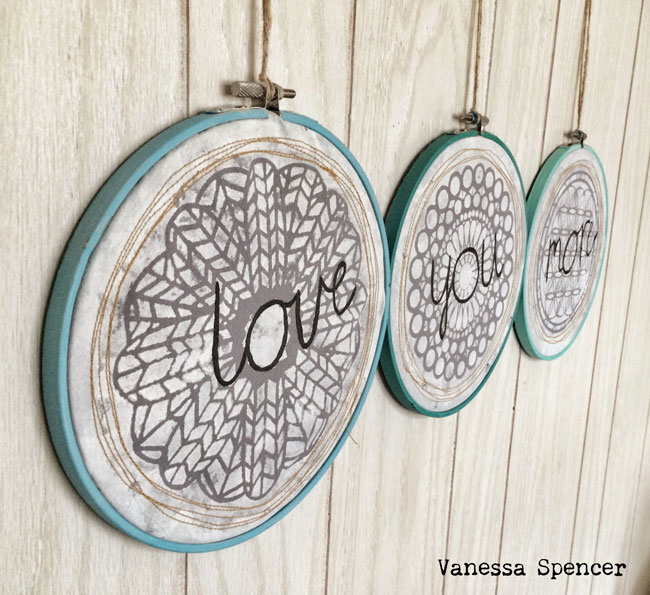 Stenciled Embroidery Hoop Home Decor Tutorial - Vanessa Spencer