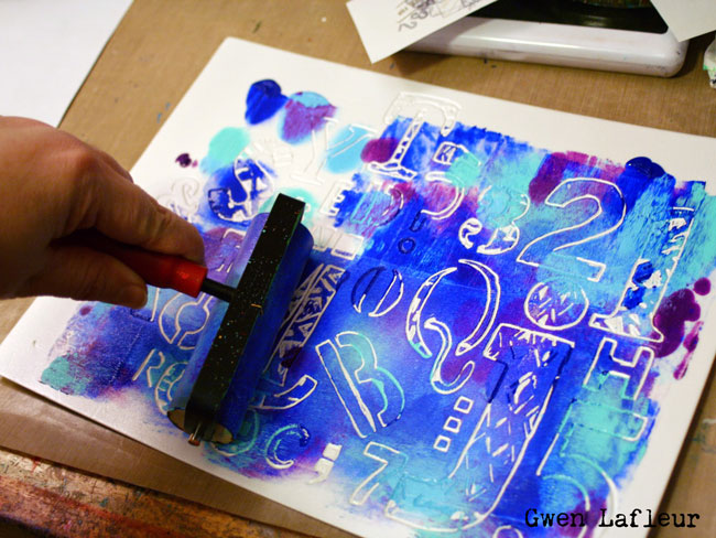 Make a Monoprinting Plate with Stencils - Gwen Lafleur