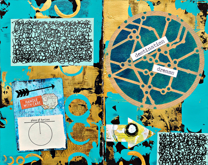 Aug2016 StencilClub - Journey Dreams Art Journal - Mary Nasser