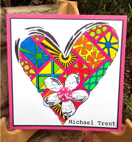 Stendoodled Heart Card by Michael Trent