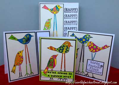 Stenciled Doodled Bird Cards - Michael Trent