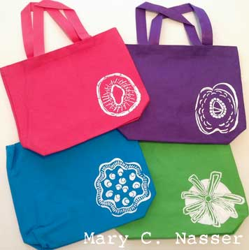 Stenciled Tote Bags by Mary Nasser
