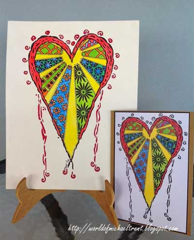 Doodled Stenciled Heart Cards - Michael Trent