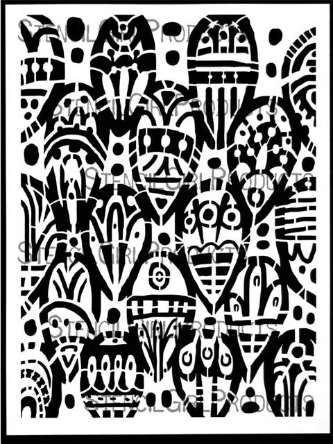 Tribal Leaves Stencil