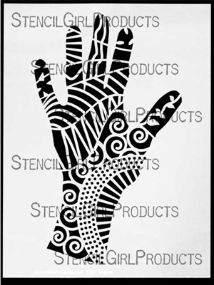 Tangled Tribal Hand Large Stencil Lizzie Mayne