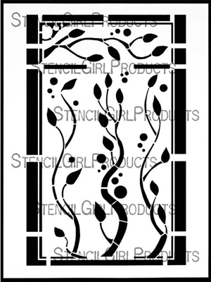 Boxed Vines Stencil by Cecilia Swatton