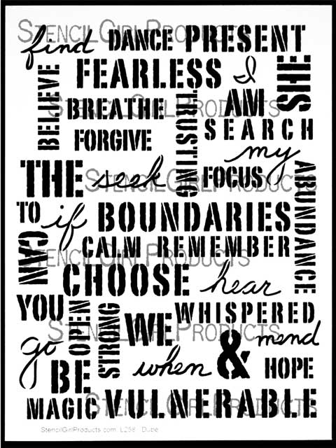 Uplifting Words Stencil Carolyn Dube Stencilgirl Products