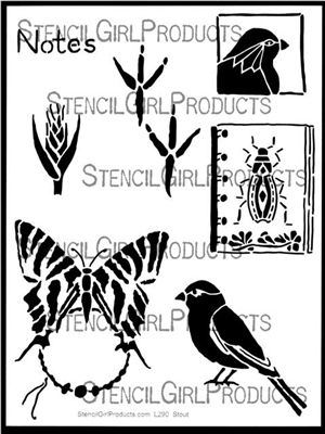 Nature Notes Stencil by Roxanne Evans Stout