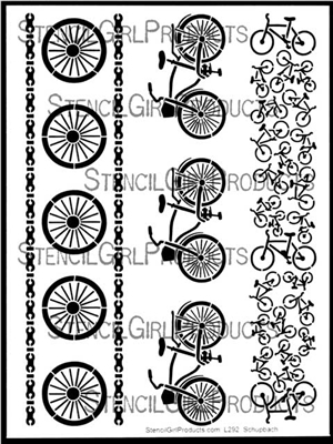 Bicycle Borders Stencil by Pippin Schupbach