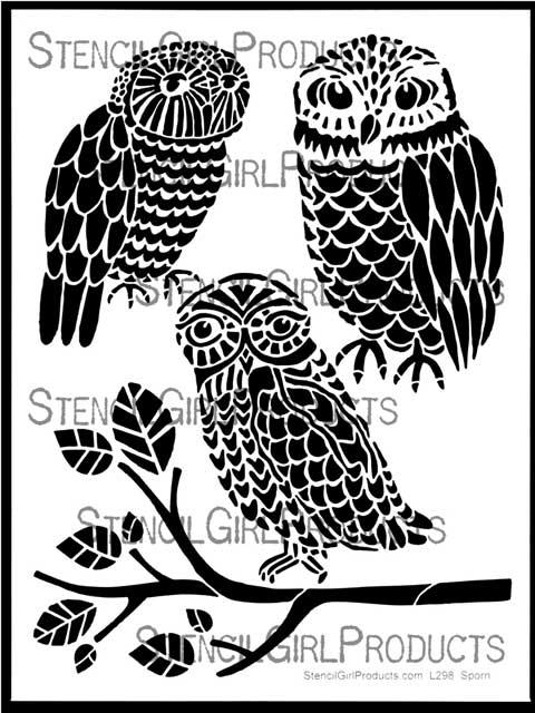 three owls and a branch stencil