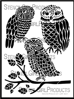 Three Owls and a Branch Stencil by Jessica Sporn