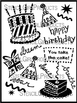 Happy Birthday Icons Stencil by Jessica Sporn