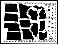 Midwest Road Trip USA Stencil by June Pfaff Daley