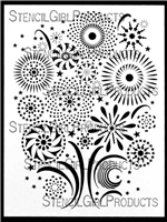 Stylized Fireworks Stencil by June Pfaff Daley