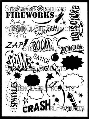 Fireworks Words Stencil by June Pfaff Daley