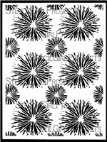 Firework Pom Poms Stencil by June Pfaff Daley