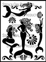 Mermaidia Stencil by June Pfaff Daley