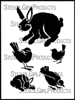 Birds & Bunnies Stencil by Margaret Peot