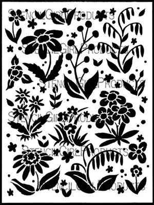 Scattered Flowers Background Stencil by Margaret Peot