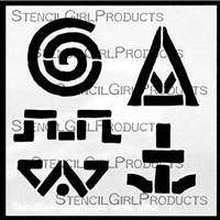 Earth Song Symbols 1 Stencil by Roxanne Evans Stout