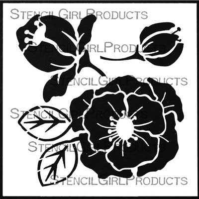 Woodcut Roses Stencil by Desiree Habicht