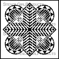 Art Deco Sun Medallion Stencil by Gwen Lafleur