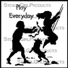 Play Everyday Pushed on a Swing Stencil by Cat Kerr