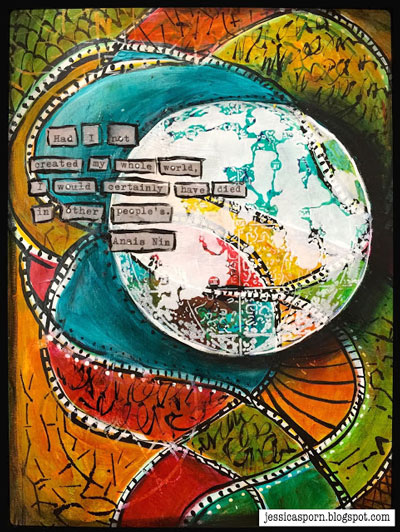 July 2015 StencilClub - Art Journaling - Jessica Sporn
