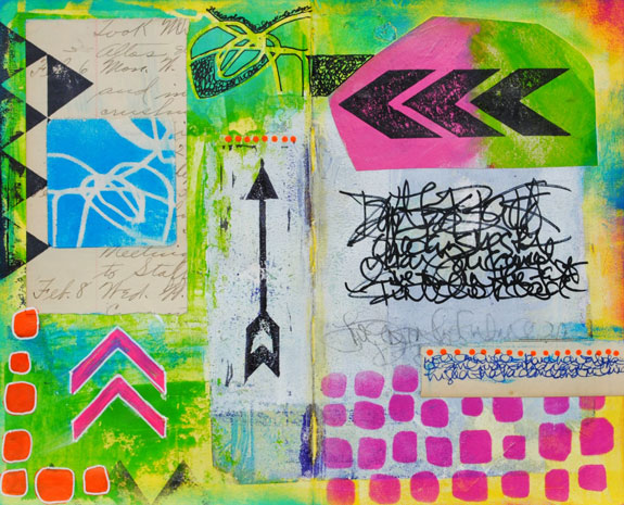 May 2015 StencilClub - Art Journal Spread 1 - Mary C. Nasser