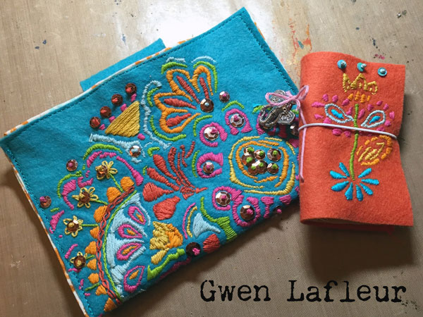 Embroidered Pouch and Needle Book with Stencils - Gwen Lafleur