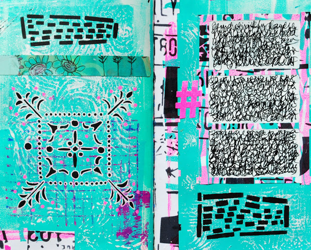 Apr2016 StencilClub - Art Journaling 3 - Mary Nasser