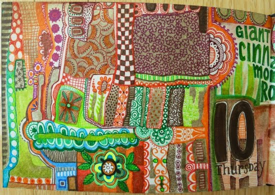August 2014 StencilClub - Art Journal 4 - Janet Joehlin