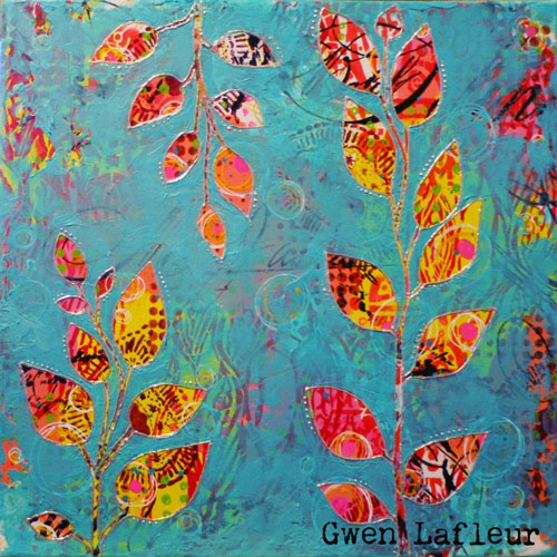 Bright Patterned Leaves Mixed Media Canvas - Gwen Lafleur