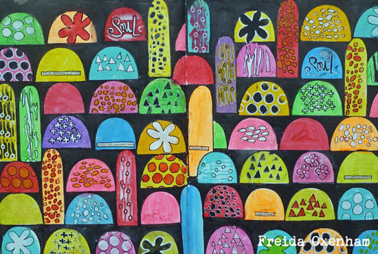 Colorful Arches Art Journal Page - Freida Oxenham