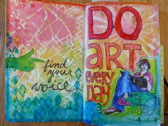 December 2014 StencilClub - Art Journal 2 - Janet Joehlin